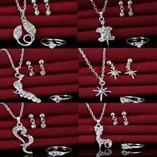 Trendy Women Rhinestone Crystal Pendant Necklace Earrings Ring Set Jewelry Gift