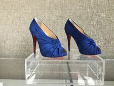 NIB SEXY Auth Christian Louboutin Blue Suede Open Toe Booties Shoes Pumps Sz 38