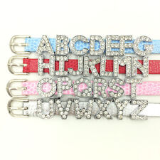 Rhinestone Clear Alphabet Letters Beads Silver Tone For Wristbands Watch Bands