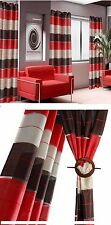 CURTAINS STRIPED RED CREAM BROWN RING TOP FULLY LINED PAIR EYELET READY MADE