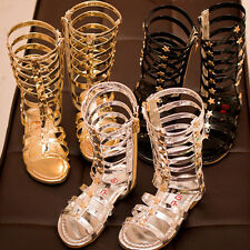 Stylish Kids Girls Gladiator Sandals Strappy Flat Knee High Zip Up Boots Shoes