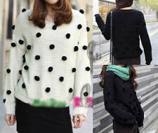 AU SELLER Celeb Style Dot Knit Sweater Crop Top Jumper Pullover T066