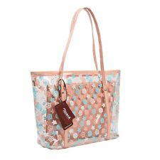 Lady's Beach Handbag Shoulder Bag Tote Semi-Clear PVC with Small Cosmetic Bags