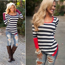 Fashion Blouse Long Sleeve Sexy Neck Top Women T-Shirt Crew Casual Striped