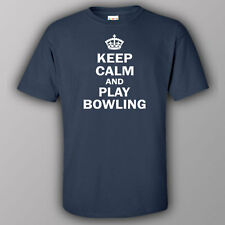 Funny T-shirt KEEP CALM AND PLAY BOWLING gift present