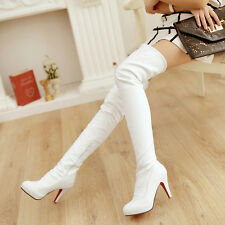 Womens High Heels Pumps Over The Knee Sexy Nightclub Leg Boots Shoes AU