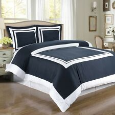 Hotel Navy Blue and White Egyptian Cotton Duvet Cover Set Royal Tradition