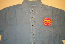 Mens Massey Harris Embroidered Denim Shirt with Pocket