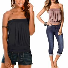 Women Summer Sexy Strapless Pleated Clubwear Bustier Tube Top Beach Party Blouse