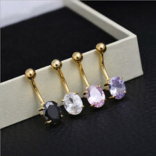 Button Surgical Steel Piercing Bar Crystal Rhinestone New Ring Navel Belly