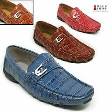 New Men's Driving Moccasins Loafers Dress Casual Brown Red Blue Alligator Shoes