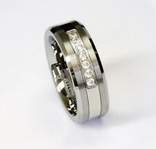 8MM 7 White Cz Stones Tungsten Carbide Ring Men's Wedding Band All Sizes