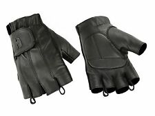 Mens Leather Fingerless Motorcycle Gloves Gel Padded Palm Summer Bike Riding