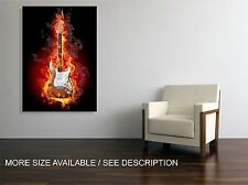 Canvas Print Picture Fantasy Burning Guitar  / Stretched- ready to hang