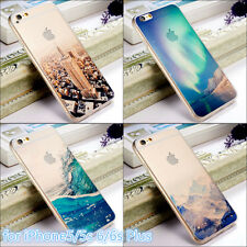 New Ultra-Thin Transparent Scenery Apple iPhone5 6 6S Plus Clear Back Case Cover