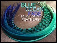 Feather Hair Extensions X Long Blue Ombre Fade Feathers Optional Tools Beads Kit