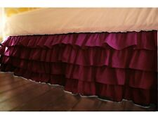 """Home Fashion Multi Ruffle Bed Skirt Burgundy Solid Drop 8 To 30"""" Egyp Cotton"""