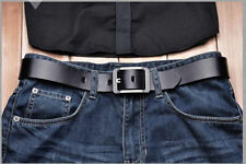 Genuine cow leather silver buckle Mens work Dress Casual Belt Waist Strap  3.8cm