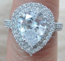 NEW 925 STERLING SILVER White Cz Pear Shaped Engagement dress Ring size L N P R