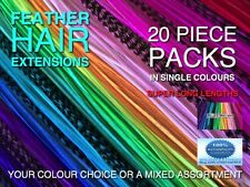 Feather Hair Extensions XXXL Single Colours Beads Tool Kits Options+FREE $7 Gift
