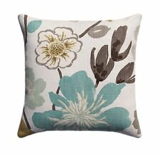 Teal Floral Pillow, Braemore Gorgeous Pearl Teal Taupe Grey Brown Throw Pillow