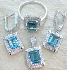 "925 STERLING SILVER ""REAL london BLUE TOPAZ "" EARRING & RING & PENDANT - WOMEN"