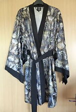 Ted Baker Ladies Dressing Gown Size 12 14 Black Summer Silky Chandeliers Robe