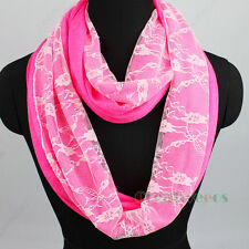 Fashion Floral Mesh Lace 2-Layer Infinity Loop Cowl Eternity Casual Scarf New