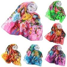 Women Lady Long Soft Neck Scarf Shawl Wrap Chiffon Silk Scarves Pashmina Z8M0