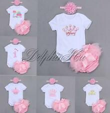 Baby Girl 3PCS Romper Bodysuit Birthday Clothes Headband Bows Pants Bloomers Set