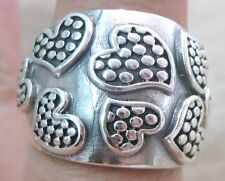 Real 925 STERLING SILVER Ring size 4.25 to 10.5US oxidised LOVE HEART Polka Dots