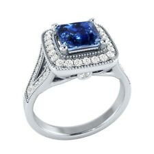 1.50 ct Natural Sapphire & Certified Diamond Solid Gold Engagement Ring