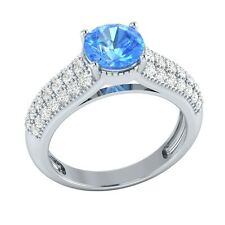 2.20ct Natural Sapphire & Diamond Solid Gold Wedding Engagement Ring