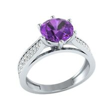 1.85 ct Natural Amethyst & Certified Diamond Solid Gold Wedding Engagement Ring