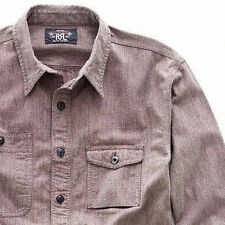 POLO RALPH LAUREN DOUBLE RL RRL COTTON JASPE RAILMAN ENGINEER WORK SHIRT $250+
