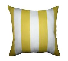 Yellow Stripe Pillow, Deck Stripe Yellow and White Accent Outdoor Throw Pillow