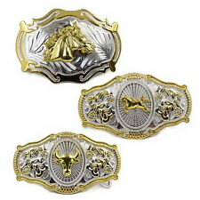 Men Vintage Metal Big Bull Horse Rider Rodeo Belt Buckle Cowboy Texas Western J