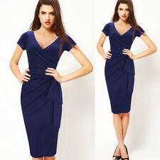 Womens Celebrity Sexy Deep V Neck Party Casual Bodycon Pencil Prom Belted Dress