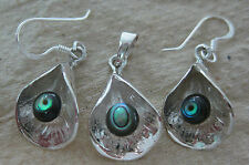 REAL 925 STERLING SILVER NZ Paua Shell ABALONE Earrings & Pendant WOMEN GIRL