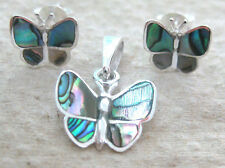 925 STERLING SILVER NZ paua shell ABALONE small BUTTERFLY Earrings Pendant girl