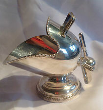 Vintage Silver Plated Sugar Scuttle / Bowl with Scoop, Engraved & Gadrooned Edge