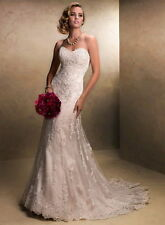 Sexy New White Ivory Lace wedding dress Bridal Gown Stock size 6 8 10 12 14 16