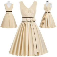 V-Neck Womens Satin Bridesmaid Vintage 50's Dress Evening Prom Party Cocktail