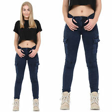 New Ladies Womens Blue Slim Skinny Stretch Combat Jeans Pants Cargo Trousers