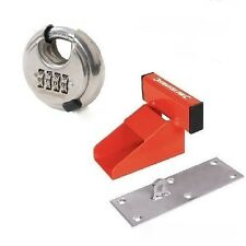 Garage Door Lock Heavy Duty Defender Security System Red + Padlock
