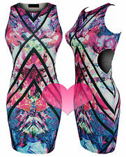Ladies Cut Out Dress Multi Coloured Mini Bodycon Party Dress In Size 8 - 14