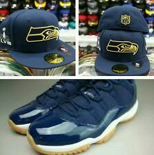 Matching New Era New Seattle SeaHawks Fitted hat for Jordan Retro 11 Low Navy