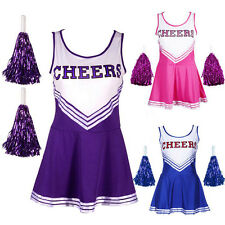 Cheerleader School Girl Fancy Dress Uniform Party Costume Outfit without Poms
