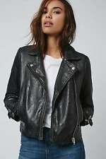 TOPSHOP *Black Washed Leather Biker Jacket* NEW_UK6_8_10_12_14_16