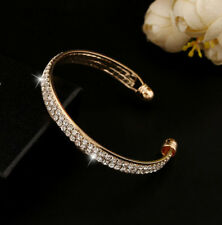 Style Bangle Jewelry Women New Cuff Fashion Rhinestone Bracelet Crystal Gold